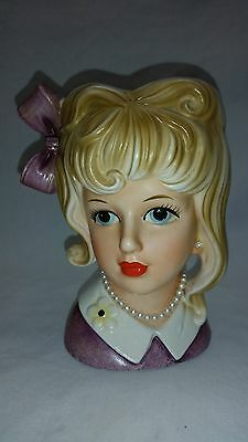 "5 1/2"" Lady Head Vase with pearls neckless and ear ring, Purple Dress & Hair Bow"