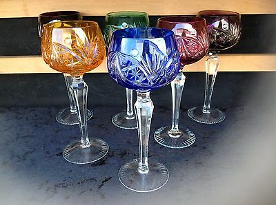 Cut-to-Clear-Glass-Multi-Color-Hock-Wine-Glasses x6