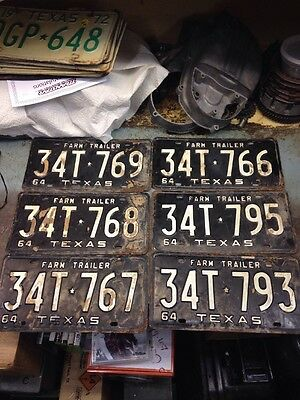 Texas Trailer License Plates From 1964