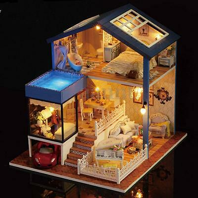 Cottage Dollhouse Miniature DIY Kit LED Light Dolls House With Furniture Gift