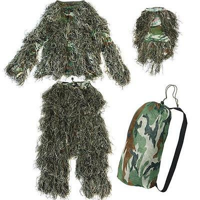 Camo Hunting Woodland Camouflage Forest Design Ghillie Suit, 3D 4-Piece, XL/XXL