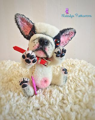 ��OOAK  plush French Bulldog 6in collectible toy ��