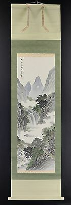 JAPANESE HANGING SCROLL ART Painting Scenery  Asian antique  #E4020