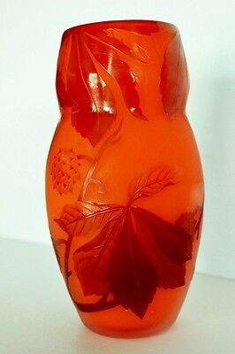 Vintage Andre Delatte Nancy French Cameo Art Glass Vase Signed