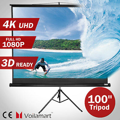 100 Inch Portable Tripod Projector Screen Portable Home Theater HD Projection