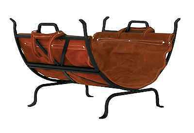 UniFlame Indoor Firewood Log Holder Rack with Leather Carrier Black Wrought Iron