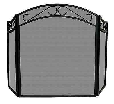 UniFlame Arch Top Black Wrought Iron 3-Panel Fireplace Screen Decorative Scrolls