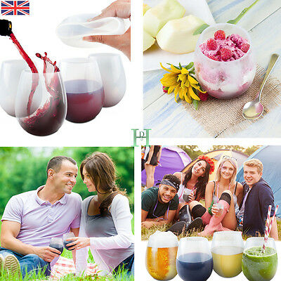 NEW Silicone Wine Glasses Beer Whiskey Cup Durable Unbreakable Camping BBQ Beach