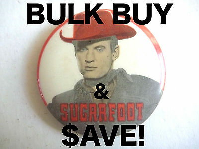 WHOLESALE! 10x SUGARFOOT VINTAGE TV COWBOY PINBACK BADGES AUSSIE ONLY WHOLESALE!