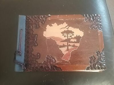 Vintage Wooden Marquetry Postcard/photo Album From Brazil - With Postcards