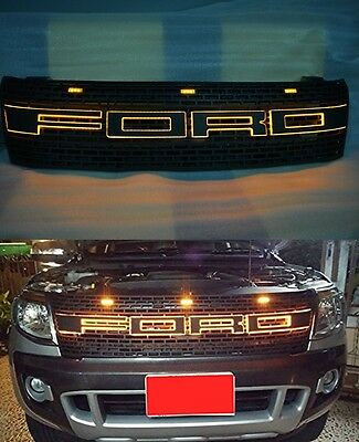 Front Grille Grill Amber Light Led Text Bar For Ford Ranger Raptor T6 2012-2014