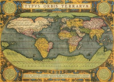Vintage Style Old Map of The World Atlas Art Poster Print Picture A4 A3