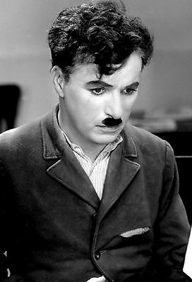Charlie Chaplin Film Actor Glossy Black & White Photo Picture Print A4