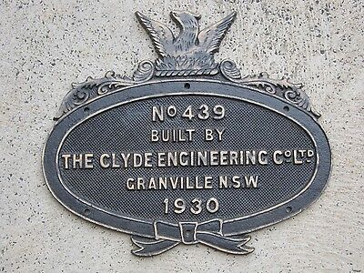 NSWGR Steam Locomotive Bronze Maker's Plaque CLYDE ENGINEERING COMPANY 1930