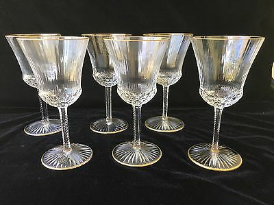 "(6) St Louis APOLLO GOLD Tall 7.5"" WATER GOBLETS"