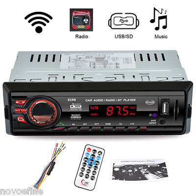 Bluetooth FM Radio Coche Estéreo MP3 Reproductor Receptor AUX-IN USB SD MMC 1DIN