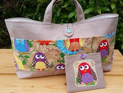 Knitting Bag with Owls Pocket, Cream Lining, 3 Inner Pockets, FREE Sewing Kit