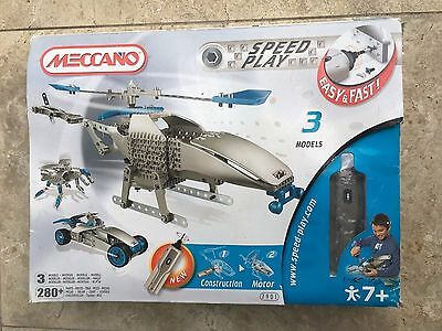 Meccano Speed Play Helicopter Set 7901 3 Models Set Racing Car Robot Spider
