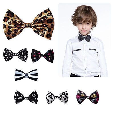 Children Kids Toddler Boys Girls Solid Color Bowtie Pre Tied Bow Tie Necktie