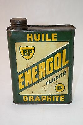 Vintage BP British Petroleum ENERGOL Graphite Motor Oil FRENCH Can Fluid Tin