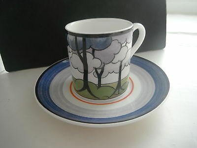 """CLARICE CLIFF """"BLUE FIRS"""" Cafe Chic"""" DUO ' MINT  by WEDGWOOD"""