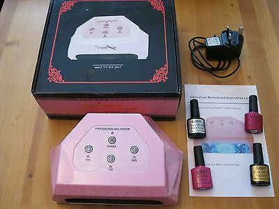 UV Nail Gel Polish Starter Kit 12W UV Lamp & 4 Polishes Used Twice Excellent Con