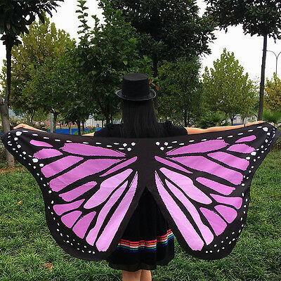 Women Butterfly Wing Shawl Stole Scarf Wrap Dress Decor Christmas Party Pink HOT