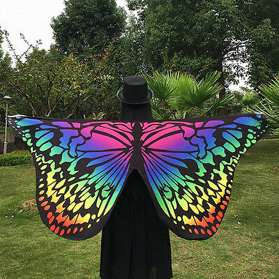 Women Butterfly Wing Shawl Stole Scarf Wrap Dress Decor Christmas Party rainbow