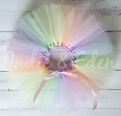 Rainbow Tutu for girls birthday pastel photo prop cake smash baby toddler skirt