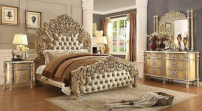 Homey Design HD-5801 Luxury Ivory Antique Gold Eastern King Size Bed