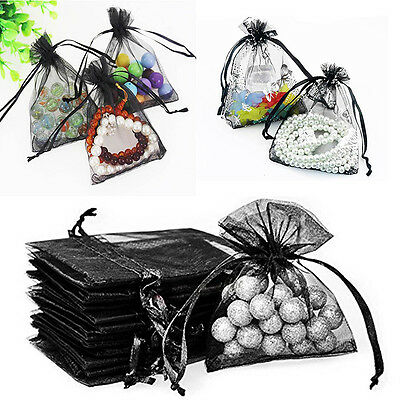 25 BLACK Organza Gift Bags Wedding Favor Bags Jewellery Candy Party Gift Pouches