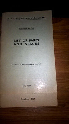 List of Fares and Stages for Wakefield section