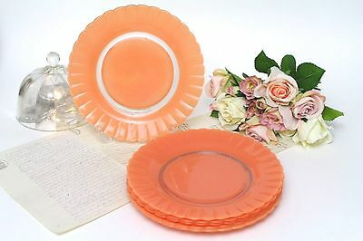 Set of 6 Vintage French Duralex Plates - Peach - Scalloped Edging