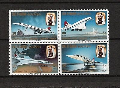 Bahrain =  1976 Concorde MNH  sets Block / 4 Free WW Shipping