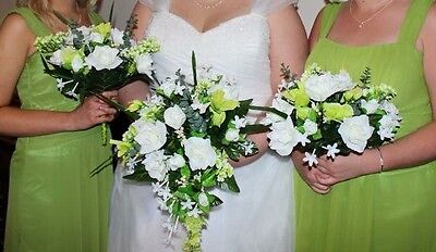 Wedding Bouquet For Bridesmaid, Ivory and Green, Artificial