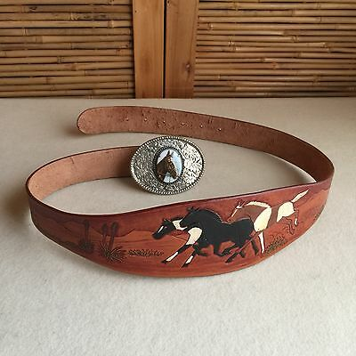 INCREDIBLE Vintage HAND TOOLED Leather 'HORSES' Hand PAINTED Cowboy WESTERN Belt