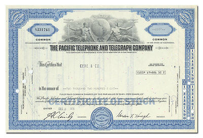 Pacific Telephone and Telegraph Company Stock Certificate