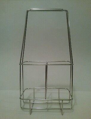 Vintage Metal Wire Dairy Milk Wine 2 Bottle Carrier Crate