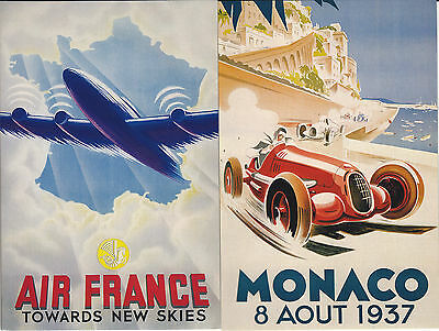 4 Cards with reproductions of nostalgic travel posters
