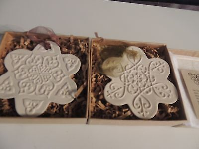 Hoover and Hoover 2 Porcelain Snowflake Ornaments--In Boxes