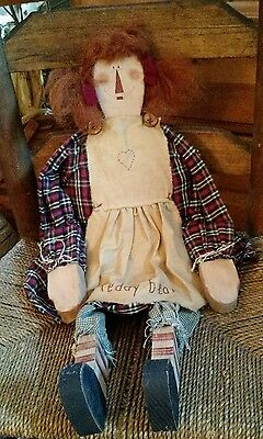 Raggedy Anne Doll With Wooden Head, Hands & Feet..handmade, Vintage