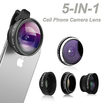 Phone Camera Lens Comsun 5 in 1 Universal Clip-on Cell Phone Camera Lens Kit ...