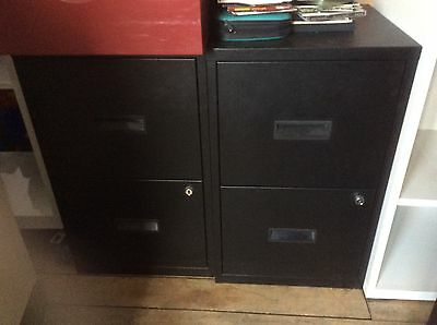 2-Drawer Black Metal Filing Cabinet - 3 available