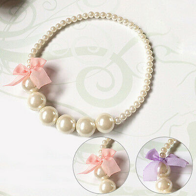 Kids Girls Princess Jewelry Necklace Toddlers Children Imitation Pearls Party