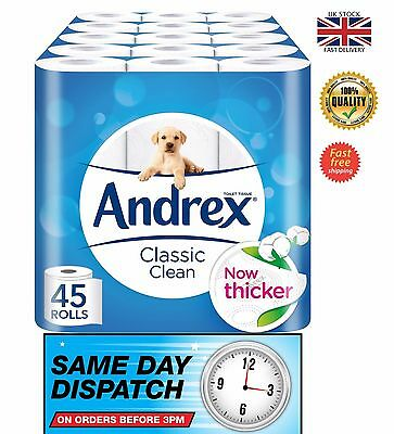 Andrex Classic Pack of 45 Rolls Clean Toilet Roll Tissue Paper UK stock fast