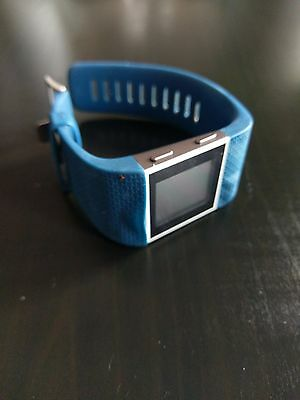 Fitbit Surge Large Blue Smart Watch Tracker RRP £199.99 Used Bubbled Strap