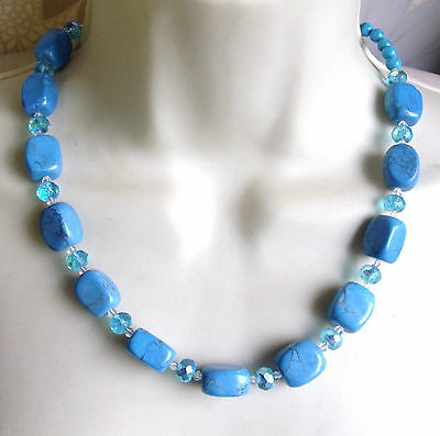 Beautiful Dyed Howlite Turquoise Tone & Crystal Beaded Necklace
