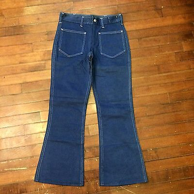 Vintage 70s Womens 29 x 29 Patch Pocket Navy Style Bell Bottom Jeans