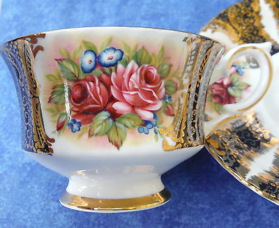 Vintage Paragon Red Roses Gilded Cabinet Cup & Saucer