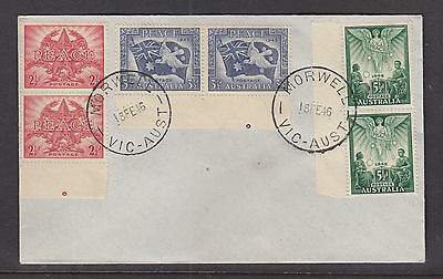 Fdc:  1946 Peace Set  In Pairs With Pip Guides On 2 Pairs. Cancelled Morwell